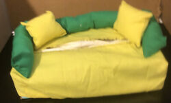 Tissue Box Cover Couch. Yellow W Green amp; Yellow Pillows