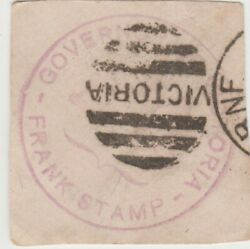 Frank Stamp Early 1880's Governor Of Victoria Handstamped In Pale Red, Very Rare