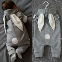 Newborn Kids Baby Clothes Girl Boy Rabbit Ear Romper Jumpsuit Bodysuit Outfits $13.49
