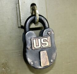 Us Military Antique Lock Army Ww2 Footlocker Cast Iron And Brass United States