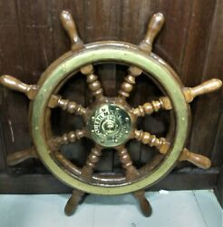 Nautical Replica Ship Steering Wheel Wooden And Brass 1 Pcs