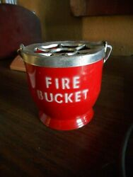 Vintage Hanging Red Fire Bucket Metal Ashtray Made In Hong Kong