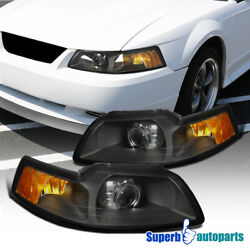 For 1999 2004 Ford Mustang RetroFor Style Projector Headlights Black Lamps Pair