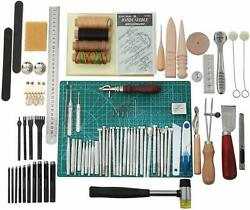 Leather Craft Tools Hand Sewing Stitching Leather Diy Stamping Working Kit Set