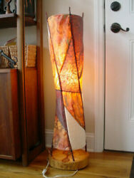 Old Mid Century Modern Artist Signed Mulberry Paper Birch Twigs Floor Table Lamp
