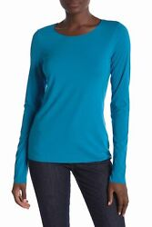 Wolford Dark Cyan Blue Pure Pullover Boat-neck Raglan Long Sleeve Stretch Top S