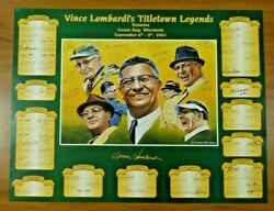 Green Bay Packers Signed Football Titletown Legends Litho 68 Autographs 18x24