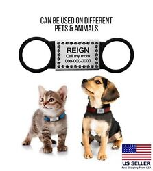 Silent Slide On Pet Id Tags Personalized Dog Cat Engraved Name Custom Collar