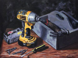 Original Still Life Painting Of Drill And Toolbox -12 X 16 Inch By John Wallie