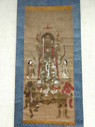 Buddhist Deity On Hanging Scroll With Hand Paint Antique For Collectors