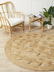 Small to Very large Jute Circle Rustic Cottage Braided Cotton Modern Style rug 1
