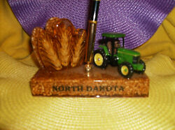 North Dakota Wheat John Deere Tractor Pen And Letter Holder New Made In Nd Usa