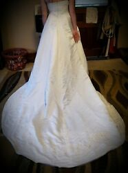 Restored Ivory Wedding Dress Size 12 Fits like a 10. Handstitched Accents. $41.00