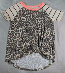 7th Ray Women#x27;s Animal Print Knotted Short Sleeve Top AM1 Beige Size Medium $16.99