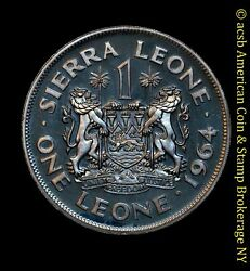 Sierra Leone 1 Leone 1964 Proof Copper-nickel Km 21 Margai White Gem Crown