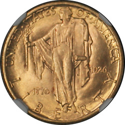 1926 Sesqui Commemorative Gold 2.50 Ngc Ms65 Superb Eye Appeal Great Color