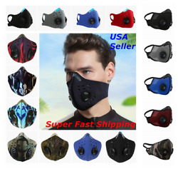Face Mask Reusable Cycling Cover Sport Dual Air Valves + Activated Carbon Filter $3.86