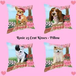 Rosie 25 Cent Kisses Dog Cat Pet Throw Decorative Travel Pillow 18x18 In