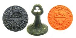 14th Century Medieval Bronze Armorial Seal Sir John De Brie Knight Of The King