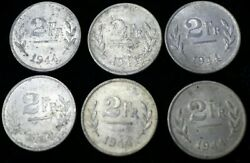 Lot Of 6 1944 Belgium 2 Francs Us Mint Struck On Steel Cent Blanks Wwii Coin