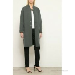 Emporio Armani Gray Sage Green Boiled Wool Cotton Cocoon Oversize Coat 50it 14us