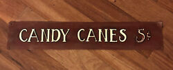 Vintage / Style Metal Sign Candy Canes 5 Cent Very Nice Sign Christmas /store