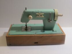 Vintage Casige Germamy Childandrsquos Toy Sewing Machine Green Works As Is