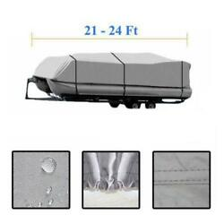 New 21and039-24and039 Ft Boat Cover Gray 600d Oxford Fabric Trailerable Heavy Duty Pontoon
