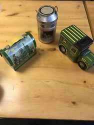 Lot Of John Deere Tin Mini Lunch Box Milk Can And Truck Preowned