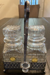 Lot Of 2 Vintage Heavy Lead Crystal Cut Glass Liquor Decanter W/stopper And Holder