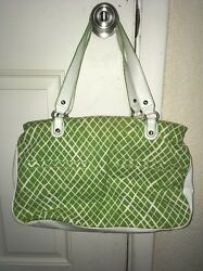 Angela Adams MAINE Designer Women's GreenWhite Leather Canvas Retro Bag CUTE $60.00