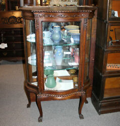 Antique Oak Curio China Cabinet Andndash Serpentine Glass Andndash Only 52andprime Height