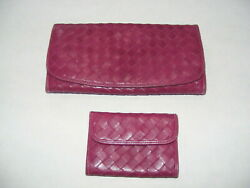 Nordstrom Lot 2 Wallet Coin Purse Credit Card Plum Weave Leather Auth Vintage