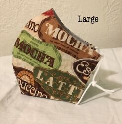 Coffee Shop Menu Themed Washable Adult Unisex Cotton Face Mask Made in USA $9.99