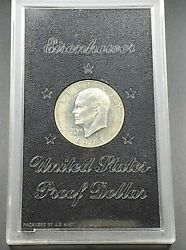 1973 S 1 Eisenhower Brown Ike 40 Proof Silver Dollar Coin Original Case Toned