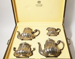 Silver tea coffee set 4 pieces in a box. Russia K. Faberge 1899-1908