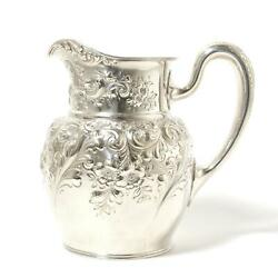 Sterling Silver Repousse Floral Jug Pitcher.