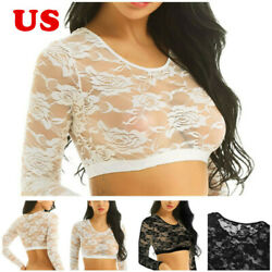 US Women Lace Floral Sheer Crop Top T shirt Long Sleeves Scoop Neck Blouse Shirt $7.93