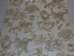 Vintage Double Roll Wallpaper York Ronald Redding Floral Shinny Off White Gold