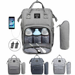 LEQUEEN USB Diaper Bag Baby Bags Mummy Nappy Changing Waterproof Travel Backpack $38.99