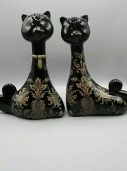 Cat Figurines Collectibles Black Gold Mid Century Modern Flare Set Of Two