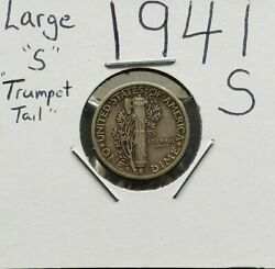 1941 S Mercury Silver Dime Coin Quad Circ Variety Trumpet Tail Large S Mint Mark
