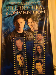 Autographed Supernatural Banner - 2013 Tx Con Signed By All But Mark Pellegrino