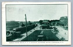 Carthage Ny Railroad Station Tissue Paper Mills Kenmore Hotel Antique Postcard