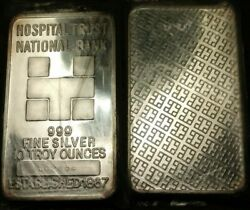 Very Rare 10 Ounce Silver Bar Hospital Trust National Bank Low Number 002496