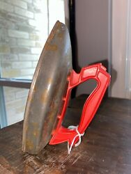 Vintage Red Metal Wolverine Child's Play Toy Laundry Iron Made In Usa Booneville