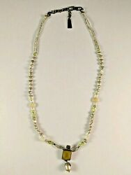 Vintage Camenae Necklace With Pearls Jlr 925 Singed Sterling Green Pendant