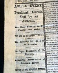 Abraham Lincoln Assassination John Wilkes Booth At Fordand039s Theater 1865 Newspaper