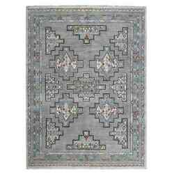 9'x11'2 Peshawar With Berber Motifs Natural Wool Hand Knotted Rug R55001