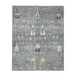 8and0391x10and0392 Folk Art Willow And Cypress Tree Design Hand Knotted Rug R55012